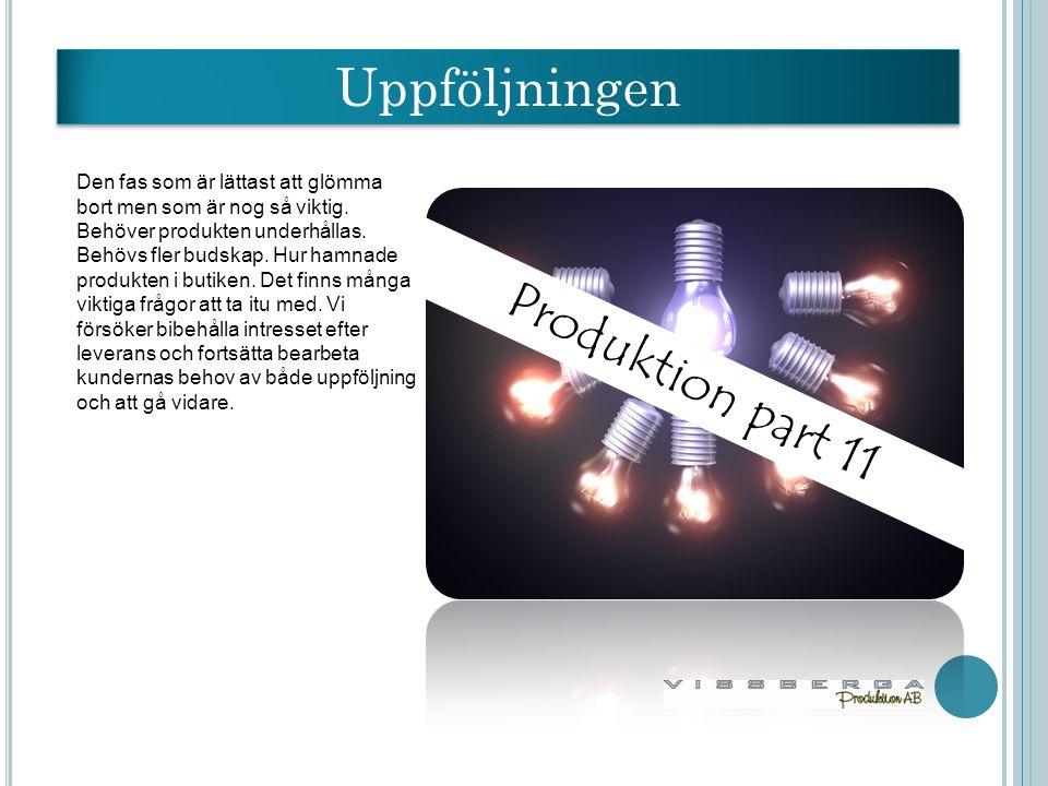 Produktion part 11 Uppföljningen Den fas som är lättast att glömma bort men som är nog så viktig.