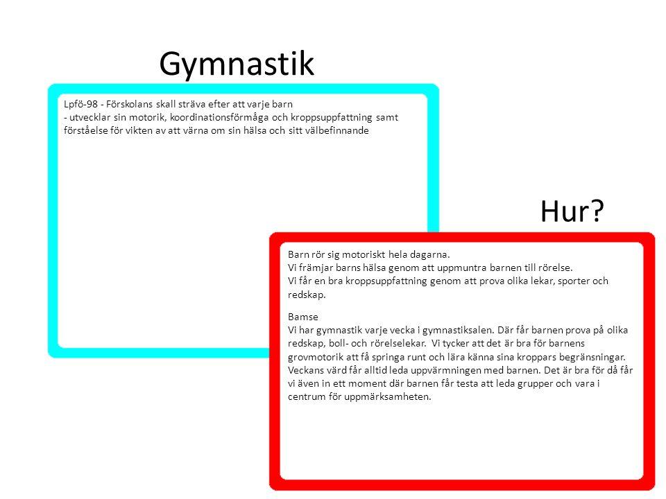 Gymnastik Barn rör sig motoriskt hela dagarna. Vi främjar barns hälsa genom att uppmuntra barnen till rörelse. Vi får en bra kroppsuppfattning genom a
