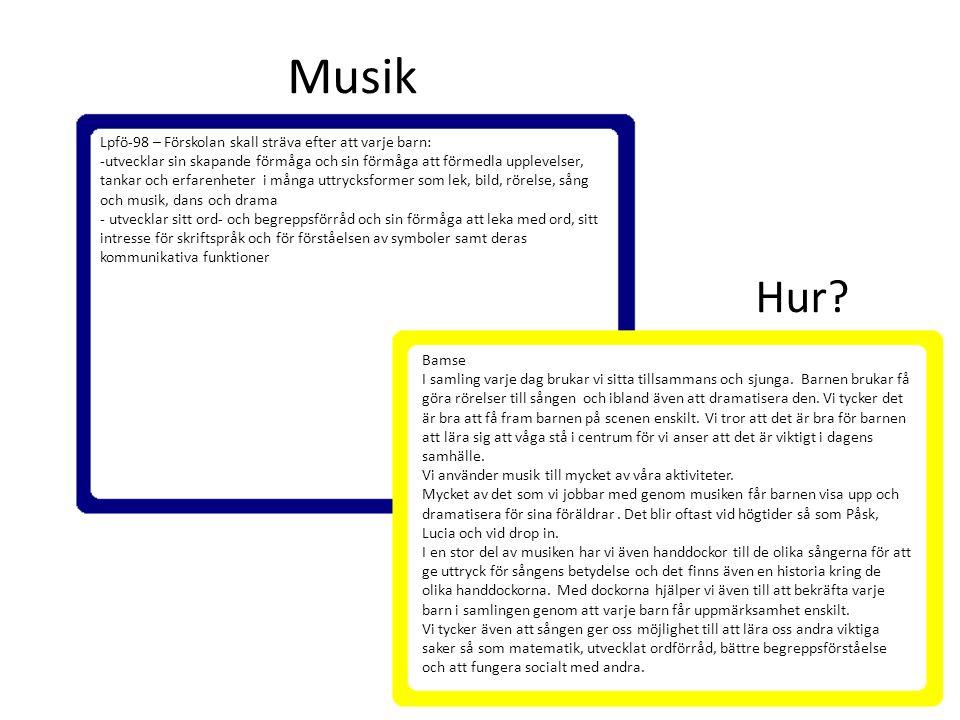 Musik Lpfö-98 – Förskolan skall sträva efter att varje barn: -utvecklar sin skapande förmåga och sin förmåga att förmedla upplevelser, tankar och erfa
