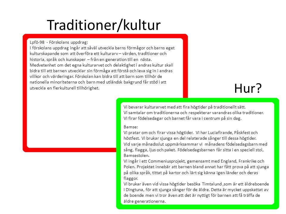 Traditioner/kultur Vi bevarar kulturarvet med att fira högtider på traditionellt sätt. Vi samtalar om traditionerna och respekterar varandras olika tr