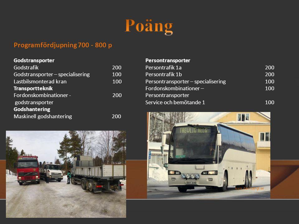 Poängutrymmet för transportprogrammet fördelar sig så här: Individuellt val 200 p Gymnasiearbete 100 p