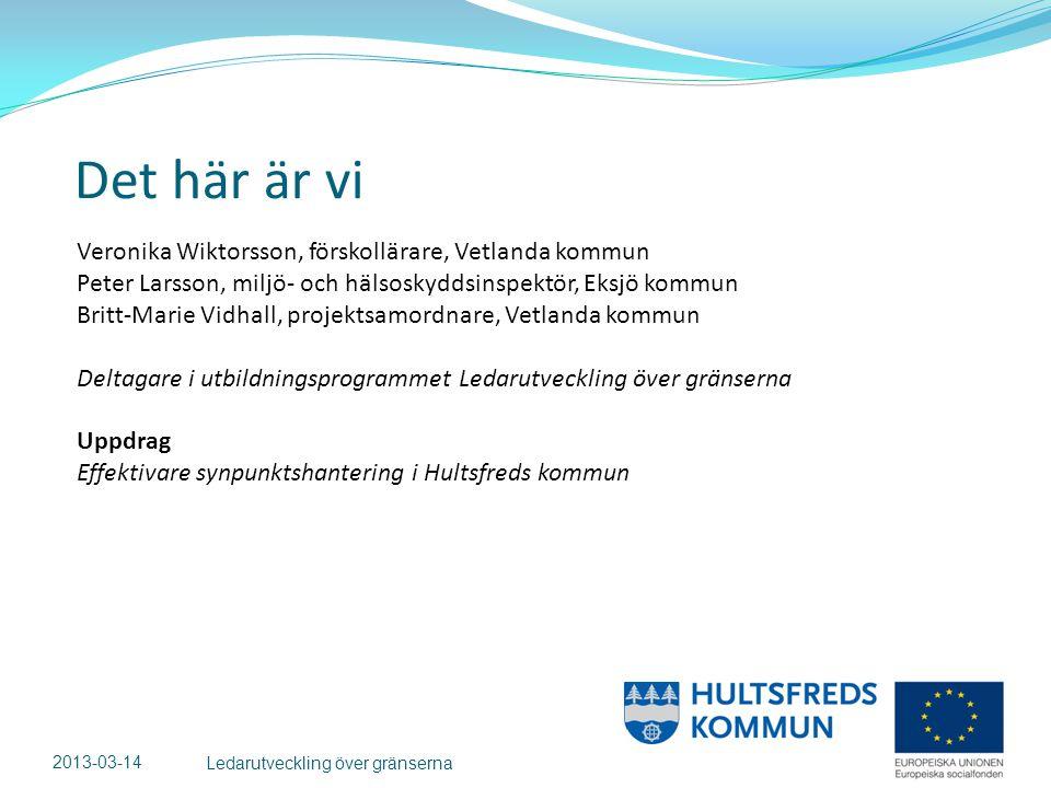 Det här är vi 2013-03-14 Ledarutveckling över gränserna Veronika Wiktorsson, förskollärare, Vetlanda kommun Peter Larsson, miljö- och hälsoskyddsinspektör, Eksjö kommun Britt-Marie Vidhall, projektsamordnare, Vetlanda kommun Deltagare i utbildningsprogrammet Ledarutveckling över gränserna Uppdrag Effektivare synpunktshantering i Hultsfreds kommun