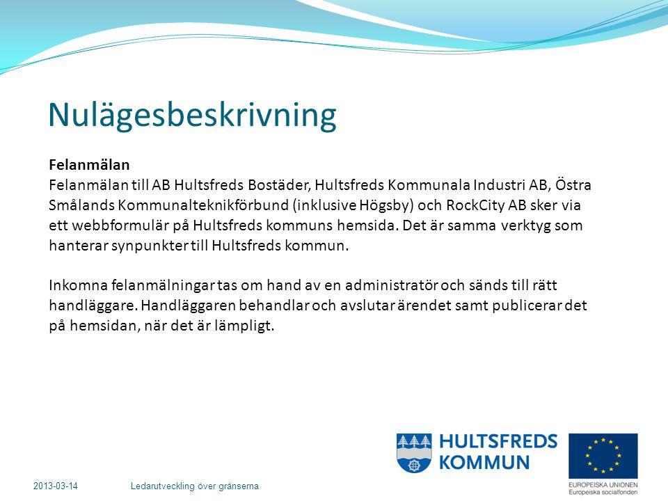 2013-03-14 Ledarutveckling över gränserna Felanmälan Felanmälan till AB Hultsfreds Bostäder, Hultsfreds Kommunala Industri AB, Östra Smålands Kommunalteknikförbund (inklusive Högsby) och RockCity AB sker via ett webbformulär på Hultsfreds kommuns hemsida.