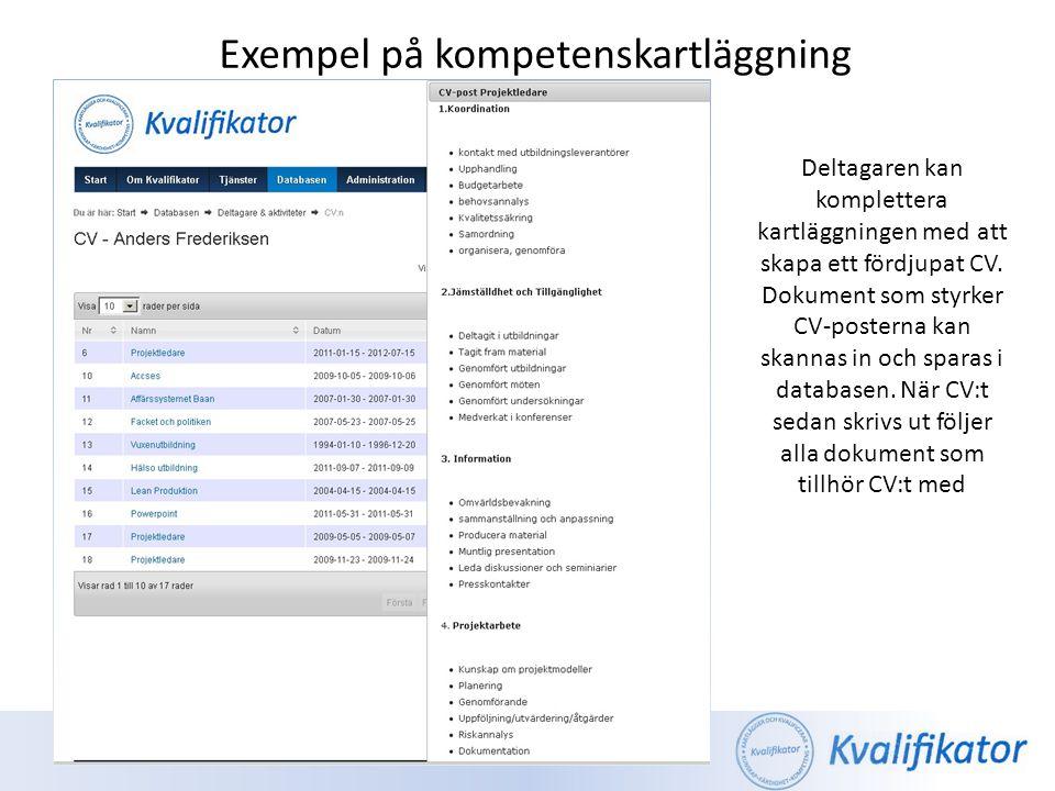 Exempel på kompetenskartläggning Deltagaren kan komplettera kartläggningen med att skapa ett fördjupat CV. Dokument som styrker CV-posterna kan skanna