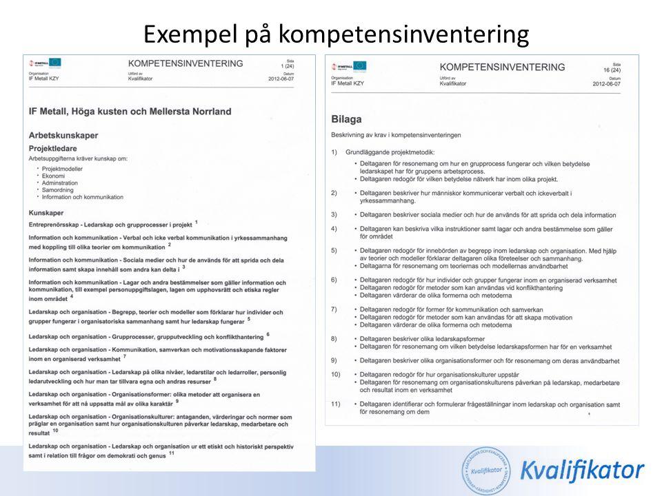 Kvalificeringsbasen bygger på de kvalitetskrav som ställs inom: • Formella kurskrav och bevisföringskrav inom utbildning och validering som ställs av Skolverket, Yh-myndigheten, Högskoleverket, centrala branschorganisationer och Arbetsförmedlingen • EQF - Den Europeiska referensramen för kvalifikationer (en nationell referensram – SeQF utreds och utvecklas för tillfället) Några användningsområden: • Kompetensinventering – ger bl.a.