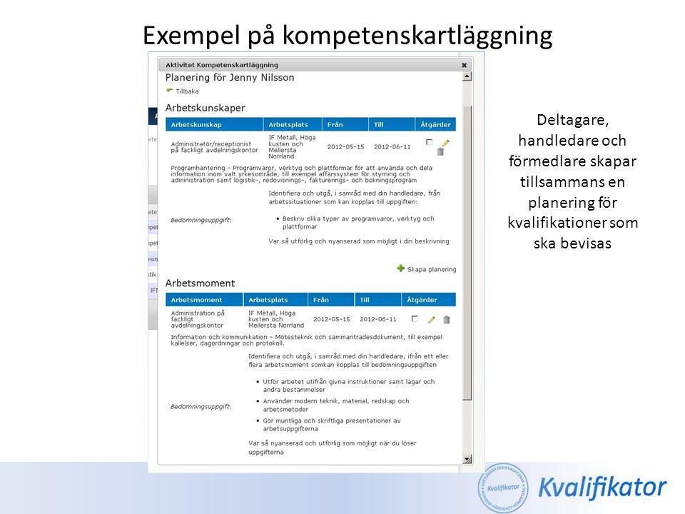 Exempel på kompetenskartläggning Planeringen kan skrivas ut där uppgifterna som ska lösas finns inklusive alla inblandade parters kontaktuppgifter