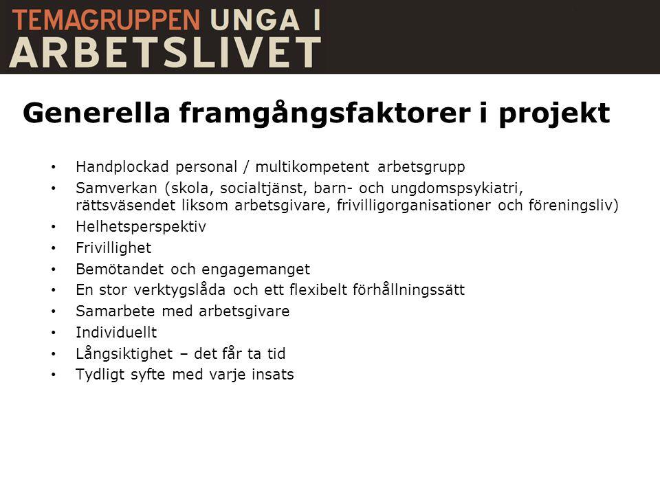 Generella framgångsfaktorer i projekt • Handplockad personal / multikompetent arbetsgrupp • Samverkan (skola, socialtjänst, barn- och ungdomspsykiatri
