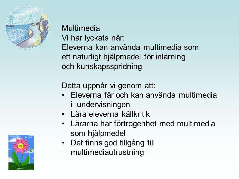 Multimedia Vi har lyckats när: Eleverna kan använda multimedia som ett naturligt hjälpmedel för inlärning och kunskapsspridning Detta uppnår vi genom