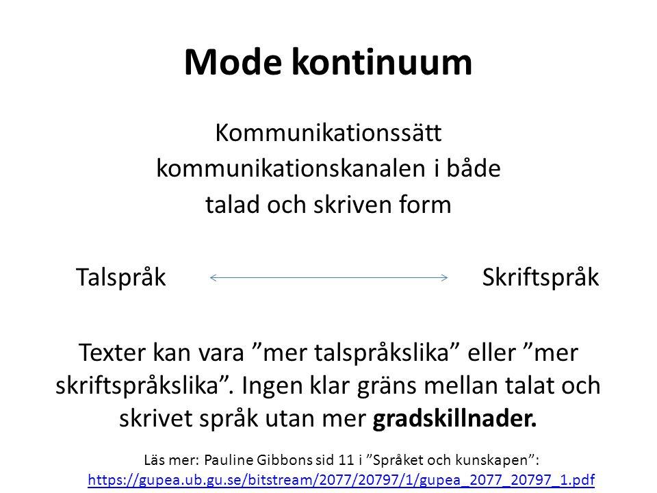 """Mode kontinuum Kommunikationssätt kommunikationskanalen i både talad och skriven form Talspråk Skriftspråk Texter kan vara """"mer talspråkslika"""" eller """""""