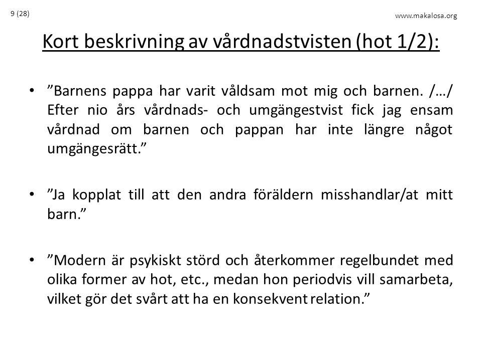 """Kort beskrivning av vårdnadstvisten (hot 1/2): • """"Barnens pappa har varit våldsam mot mig och barnen. /…/ Efter nio års vårdnads- och umgängestvist fi"""