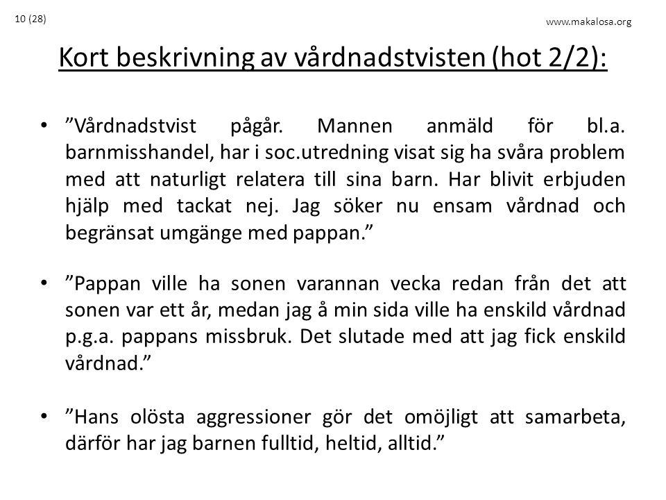 """Kort beskrivning av vårdnadstvisten (hot 2/2): • """"Vårdnadstvist pågår. Mannen anmäld för bl.a. barnmisshandel, har i soc.utredning visat sig ha svåra"""