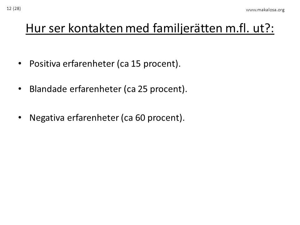 Hur ser kontakten med familjerätten m.fl. ut?: • Positiva erfarenheter (ca 15 procent). • Blandade erfarenheter (ca 25 procent). • Negativa erfarenhet