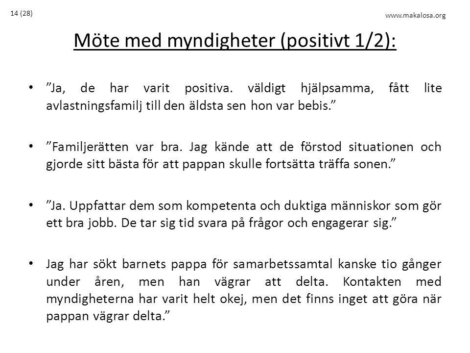 Möte med myndigheter (positivt 1/2): • Ja, de har varit positiva.
