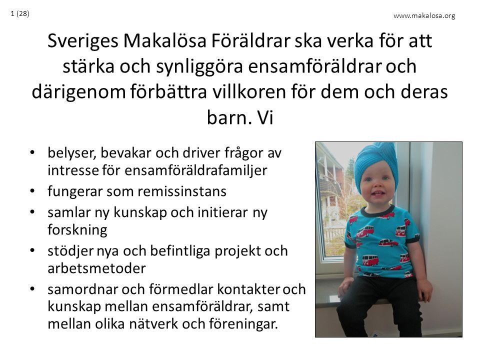 Sveriges Makalösa Föräldrar ska verka för att stärka och synliggöra ensamföräldrar och därigenom förbättra villkoren för dem och deras barn.