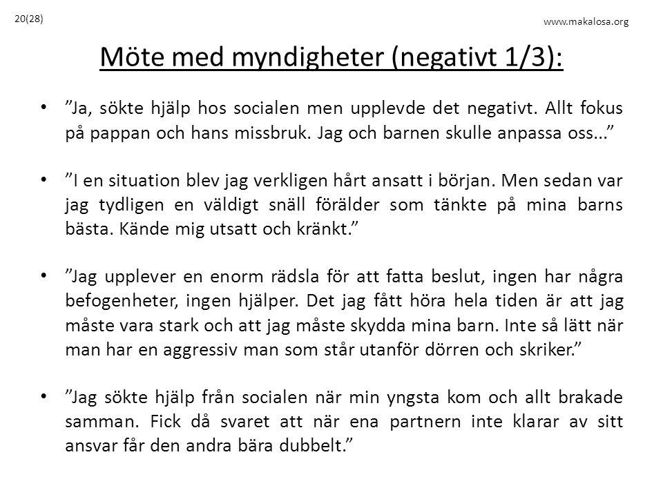 Möte med myndigheter (negativt 1/3): • Ja, sökte hjälp hos socialen men upplevde det negativt.