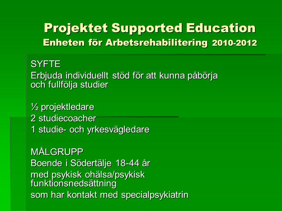 SYFTE Erbjuda individuellt stöd för att kunna påbörja och fullfölja studier ½ projektledare 2 studiecoacher 1 studie- och yrkesvägledare MÅLGRUPP Boen