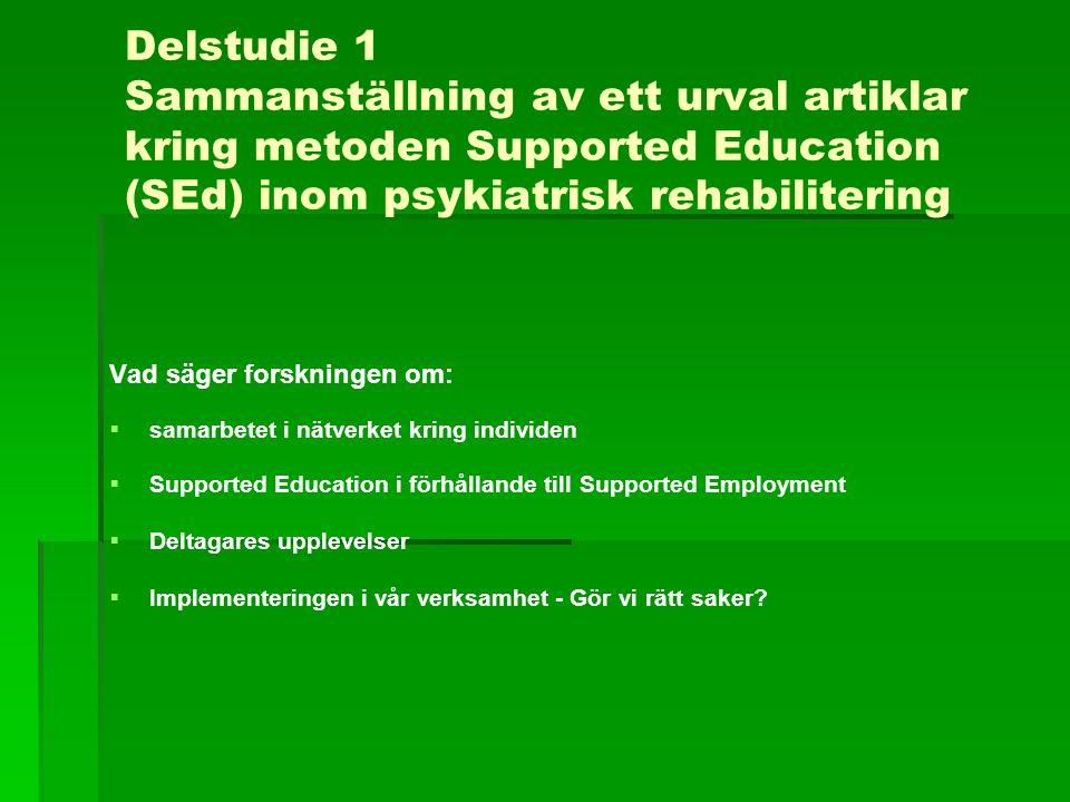 Delstudie 1 Sammanställning av ett urval artiklar kring metoden Supported Education (SEd) inom psykiatrisk rehabilitering Vad säger forskningen om: 