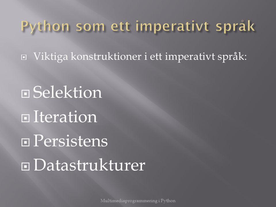  Viktiga konstruktioner i ett imperativt språk:  Selektion  Iteration  Persistens  Datastrukturer Multimediaprogrammering i Python