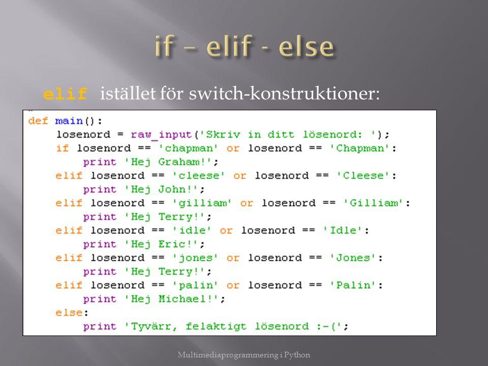  Hur data överlever till nästa programkörning  Vi tar nu en titt på hur man läser in från en fil Försök först öppna filen: try: fil = open( sprak.txt , r ); Multimediaprogrammering i Python