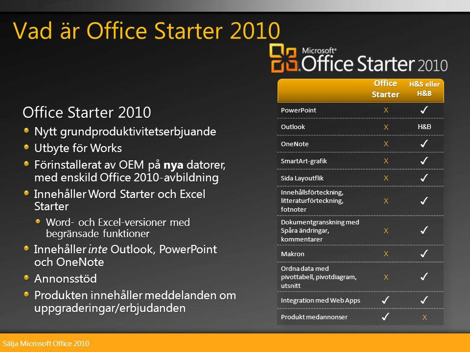Sälja Microsoft Office 2010 Office Starter 2010 Nytt grundproduktivitetserbjuande Utbyte för Works Förinstallerat av OEM på nya datorer, med enskild Office 2010-avbildning Innehåller Word Starter och Excel Starter Word- och Excel-versioner med begränsade funktioner Innehåller inte Outlook, PowerPoint och OneNote Annonsstöd Produkten innehåller meddelanden om uppgraderingar/erbjudanden Vad är Office Starter 2010