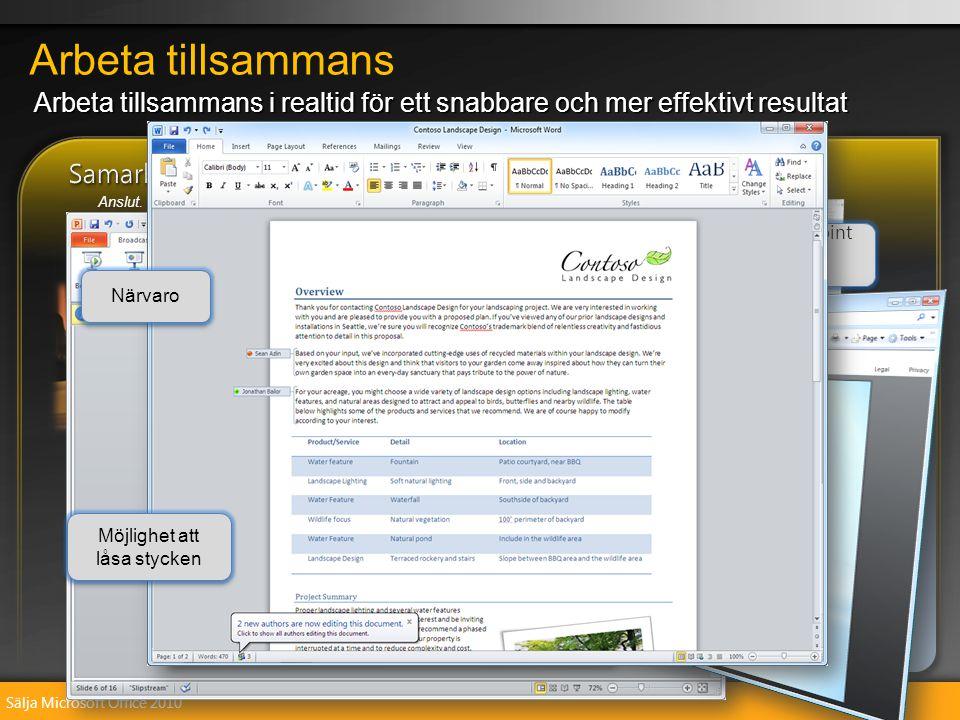 Sälja Microsoft Office 2010 Arbeta tillsammans i realtid med samtidig redigering i Word och OneNote Ta kontrollen över din e-post med konversationsvyn i Outlook Dela direkt med hjälp av Sänd bildspel i PowerPoint Kommunicera och dela filer med fler skyddsfunktioner Arbeta tillsammans i realtid med samtidig redigering i Word och OneNote Ta kontrollen över din e-post med konversationsvyn i Outlook Dela direkt med hjälp av Sänd bildspel i PowerPoint Kommunicera och dela filer med fler skyddsfunktioner Arbeta tillsammans i realtid för ett snabbare och mer effektivt resultat Arbeta tillsammans Anslut.