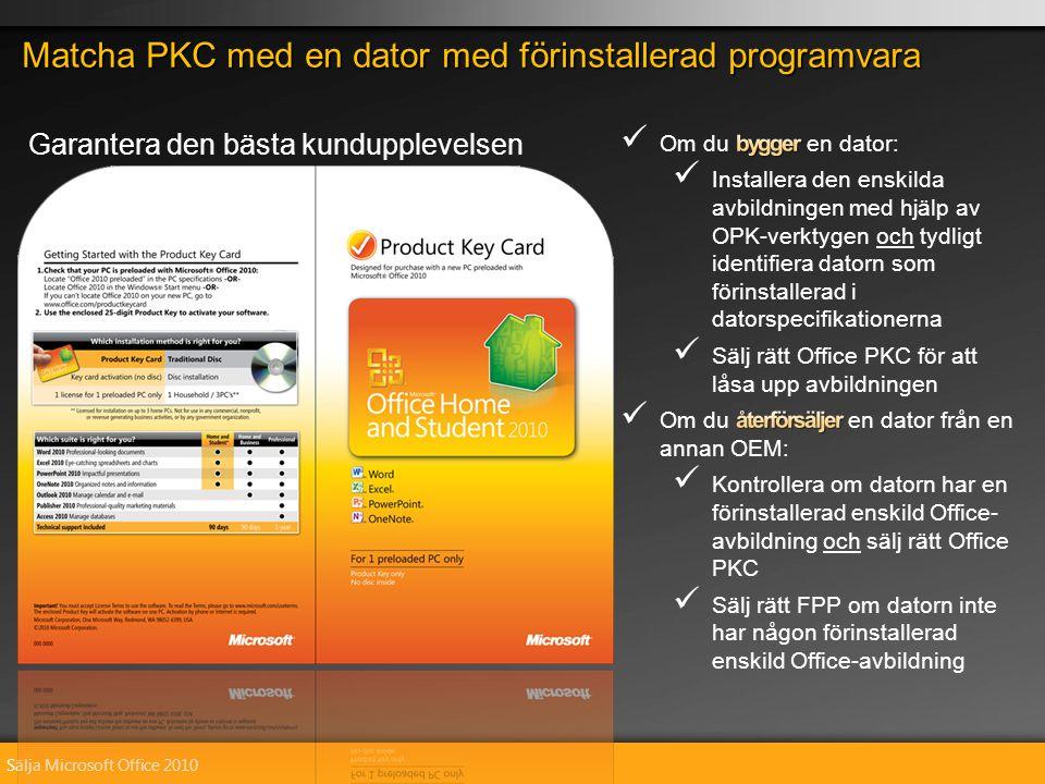 Sälja Microsoft Office 2010 Matcha PKC med en dator med förinstallerad programvara Garantera den bästa kundupplevelsen