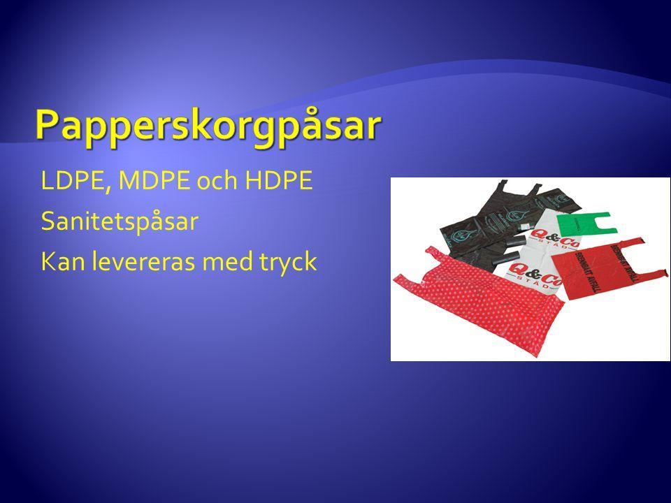 LDPE, MDPE och HDPE Sanitetspåsar Kan levereras med tryck