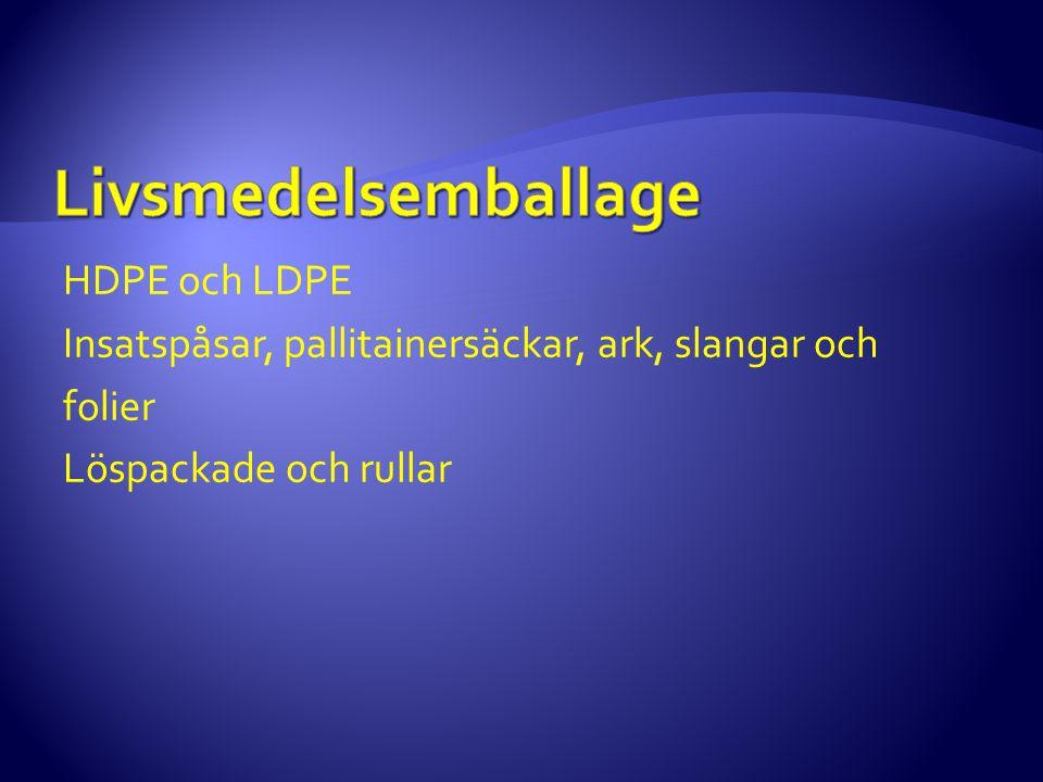 HDPE och LDPE Insatspåsar, pallitainersäckar, ark, slangar och folier Löspackade och rullar