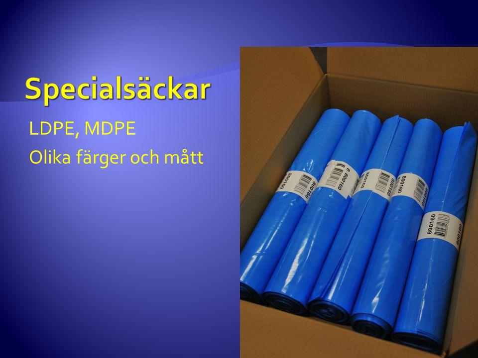 LDPE, MDPE Olika färger och mått