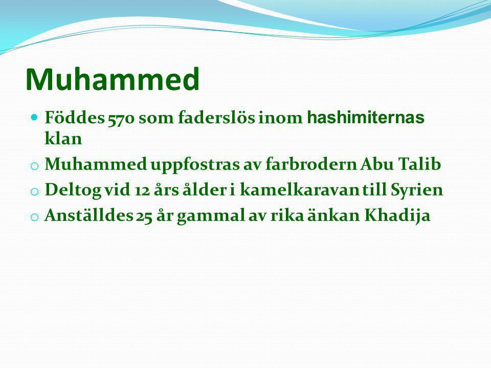 Muhammed  Föddes 570 som faderslös inom hashimiternas klan o Muhammed uppfostras av farbrodern Abu Talib o Deltog vid 12 års ålder i kamelkaravan til