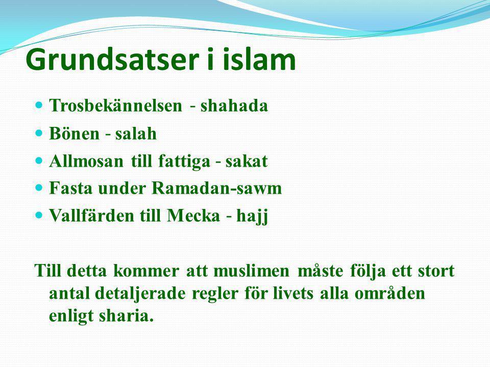 Grundsatser i islam  Trosbekännelsen ˗ shahada  Bönen ˗ salah  Allmosan till fattiga ˗ sakat  Fasta under Ramadan-sawm  Vallfärden till Mecka ˗ h