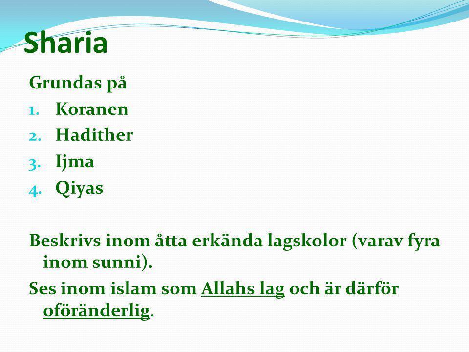 Sharia Grundas på 1. Koranen 2. Hadither 3. Ijma 4. Qiyas Beskrivs inom åtta erkända lagskolor (varav fyra inom sunni). Ses inom islam som Allahs lag