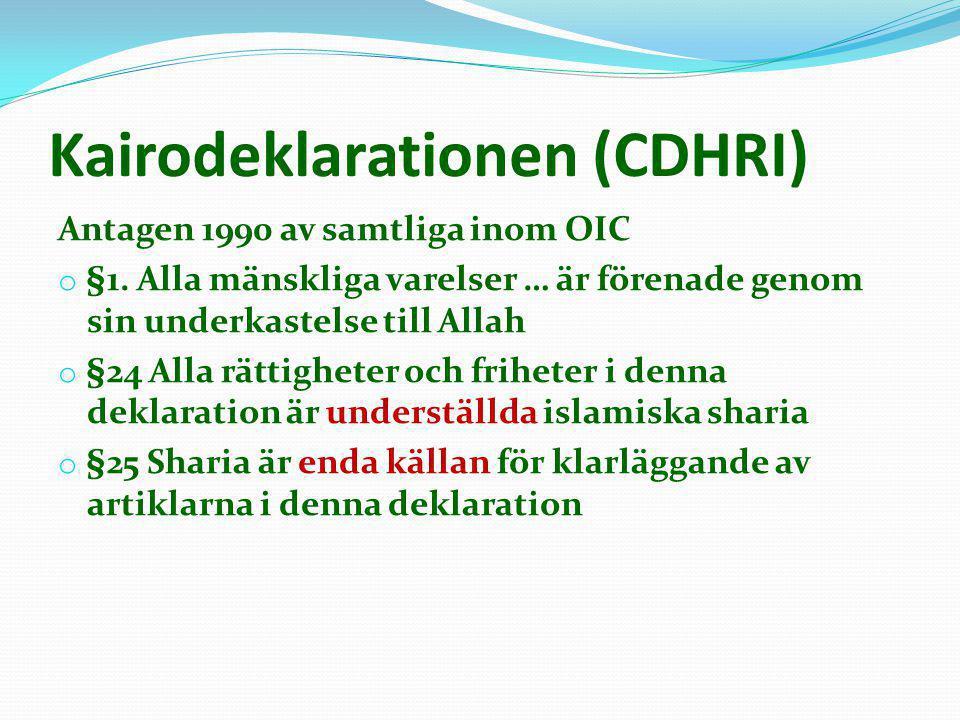 Kairodeklarationen (CDHRI) Antagen 1990 av samtliga inom OIC o §1. Alla mänskliga varelser … är förenade genom sin underkastelse till Allah o §24 Alla