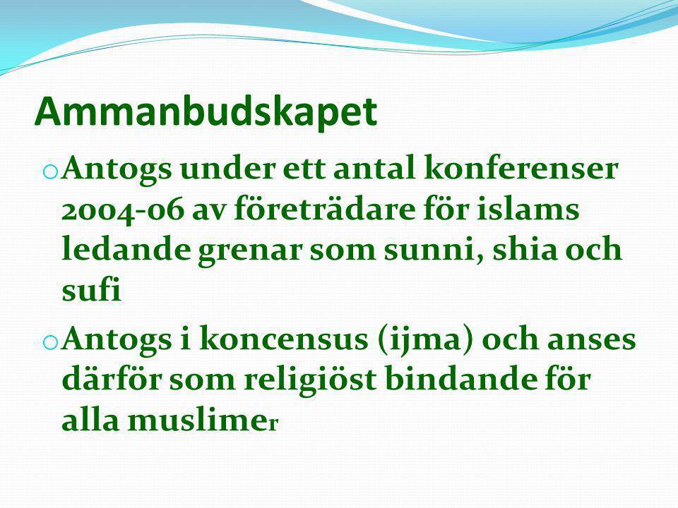 Ammanbudskapet o Antogs under ett antal konferenser 2004-06 av företrädare för islams ledande grenar som sunni, shia och sufi o Antogs i koncensus (ij