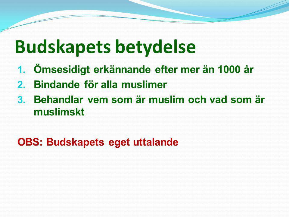 Budskapets betydelse 1. Ömsesidigt erkännande efter mer än 1000 år 2. Bindande för alla muslimer 3. Behandlar vem som är muslim och vad som är muslims