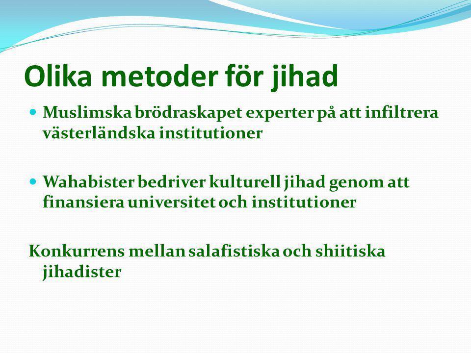 Olika metoder för jihad  Muslimska brödraskapet experter på att infiltrera västerländska institutioner  Wahabister bedriver kulturell jihad genom at