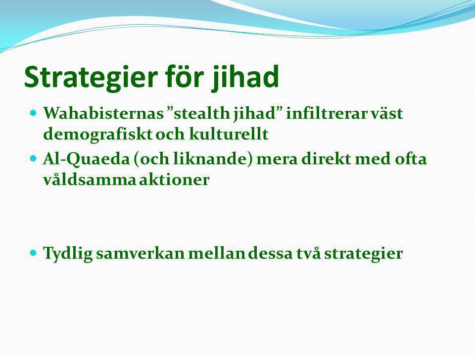 """Strategier för jihad  Wahabisternas """"stealth jihad"""" infiltrerar väst demografiskt och kulturellt  Al-Quaeda (och liknande) mera direkt med ofta våld"""