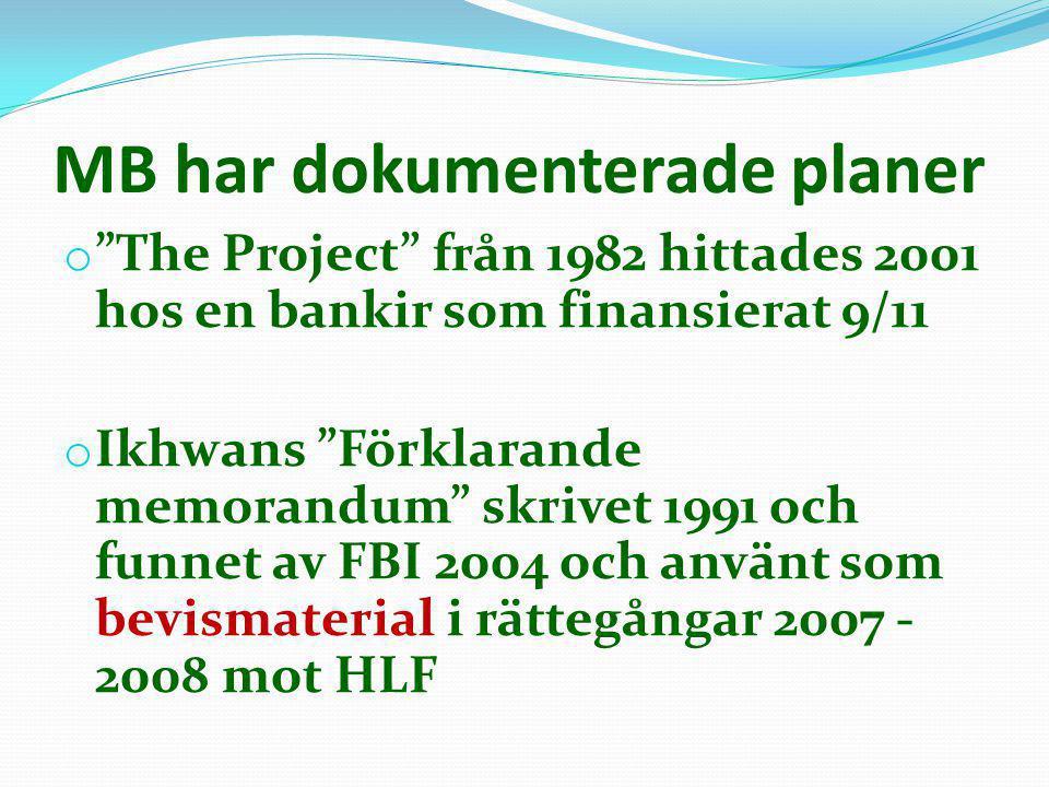 """MB har dokumenterade planer o """"The Project"""" från 1982 hittades 2001 hos en bankir som finansierat 9/11 o Ikhwans """"Förklarande memorandum"""" skrivet 1991"""