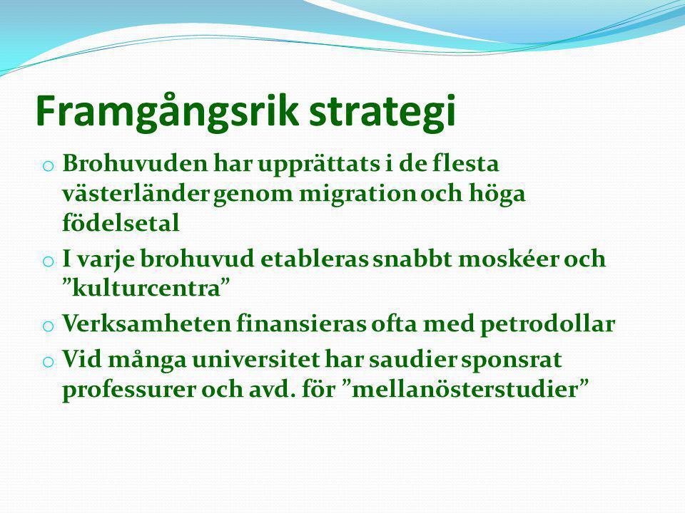 Framgångsrik strategi o Brohuvuden har upprättats i de flesta västerländer genom migration och höga födelsetal o I varje brohuvud etableras snabbt mos