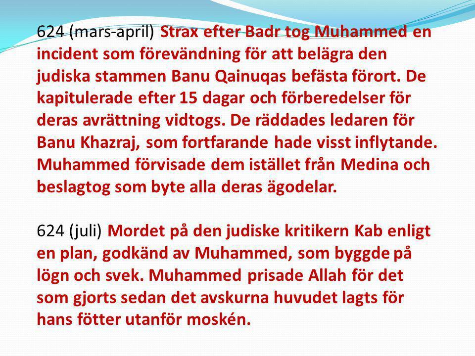 624 (mars-april) Strax efter Badr tog Muhammed en incident som förevändning för att belägra den judiska stammen Banu Qainuqas befästa förort. De kapit
