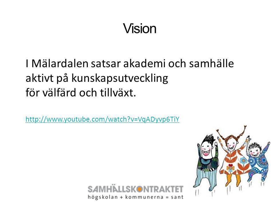 I Mälardalen satsar akademi och samhälle aktivt på kunskapsutveckling för välfärd och tillväxt. http://www.youtube.com/watch?v=VqADyvp6TiY Vision