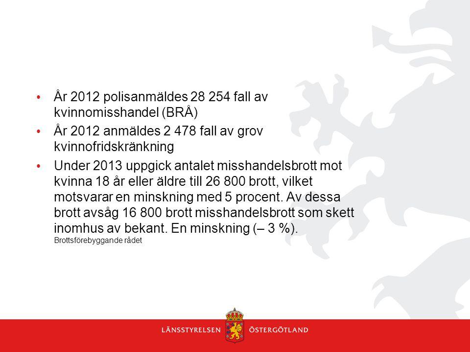 • År 2012 polisanmäldes 28 254 fall av kvinnomisshandel (BRÅ) • År 2012 anmäldes 2 478 fall av grov kvinnofridskränkning • Under 2013 uppgick antalet
