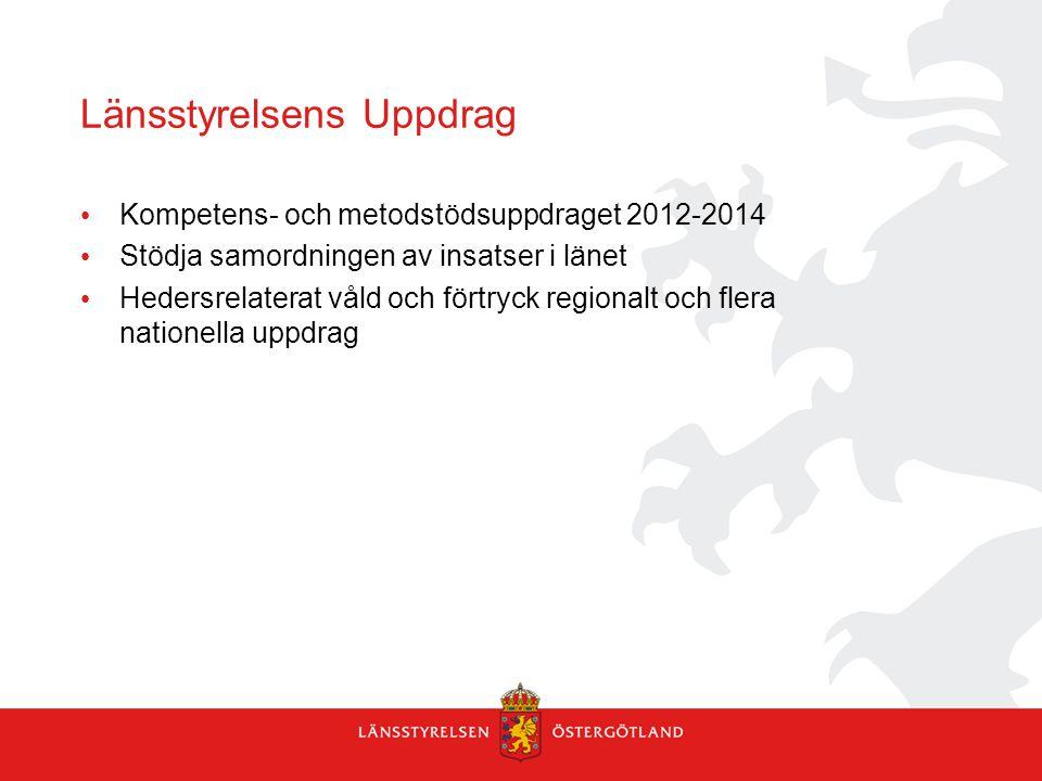 Länsstyrelsens Uppdrag • Kompetens- och metodstödsuppdraget 2012-2014 • Stödja samordningen av insatser i länet • Hedersrelaterat våld och förtryck re
