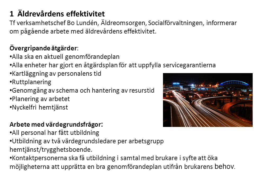 1 Äldrevårdens effektivitet Tf verksamhetschef Bo Lundén, Äldreomsorgen, Socialförvaltningen, informerar om pågående arbete med äldrevårdens effektivitet.