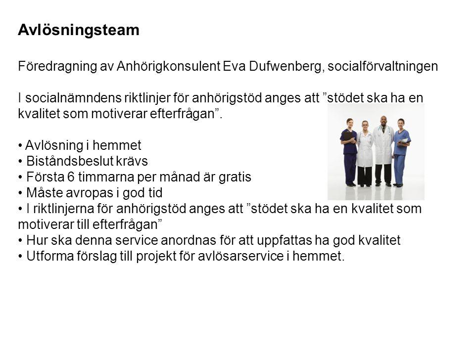 Avlösningsteam Föredragning av Anhörigkonsulent Eva Dufwenberg, socialförvaltningen I socialnämndens riktlinjer för anhörigstöd anges att stödet ska ha en kvalitet som motiverar efterfrågan .
