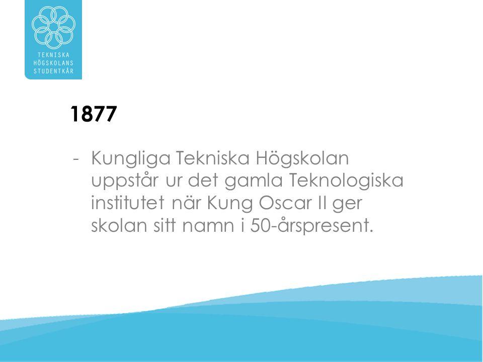 1917 -KTH flyttar in till Valhallavägen och THS blir lovade marken där Nymble står idag.
