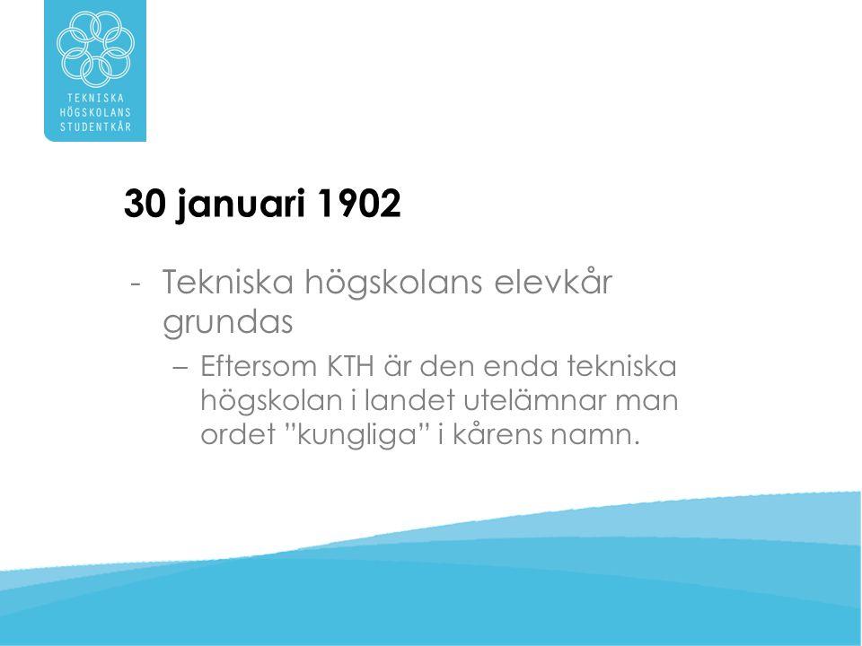 1902 -Kåren grundas för att samla studenternas röst mot pliktsystemet på KTH.