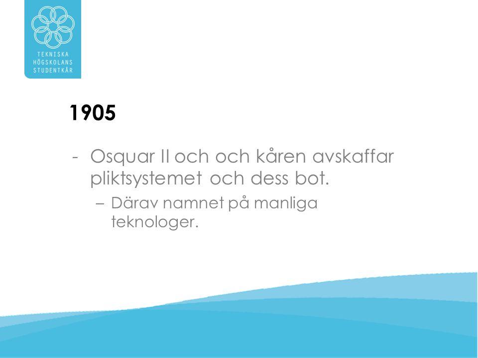 1905 -Förslag om namnbyte till Tekniska Högskolans Studentkår – … det är för blygsamt af teknologerna att kalla sig elev.