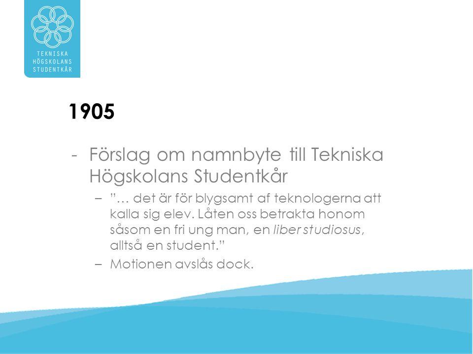 1910 -THS uppstår genom namnbyte till Tekniska Högskolans Studentkår -Kårobligatorium införs -Första kårlokalen invigs på Rådmansgatan 61 – Gamble