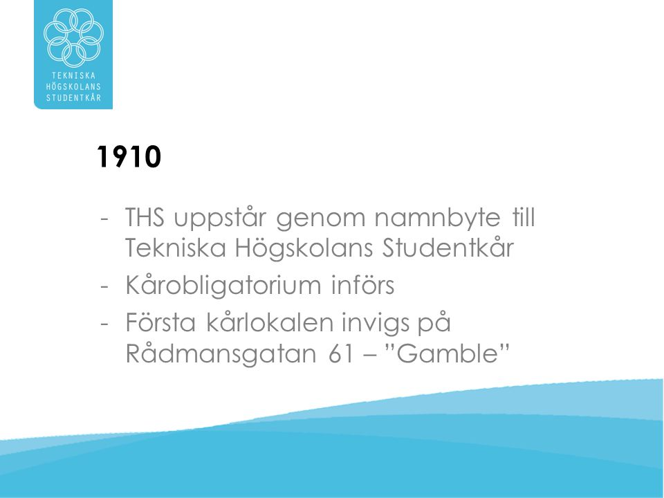 1910 -THS får sina första sektioner: –Elektro –Väg- och vatten –Arkitektur –Maskin –Bergs –Kemi